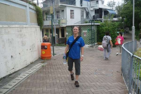 Dr. Polak on the lookout for stray cats in Hong Kong.