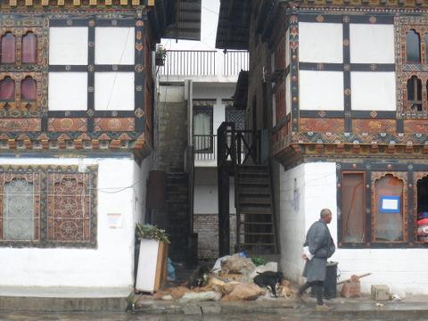 Street scene in the town of Paro