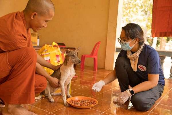 Monk with volunteer