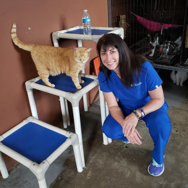 Cameron Moore and her new friend at the San Francisco Animal Sanctuary in Puerto Rico