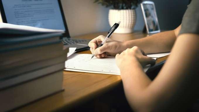 Student Doing School Work