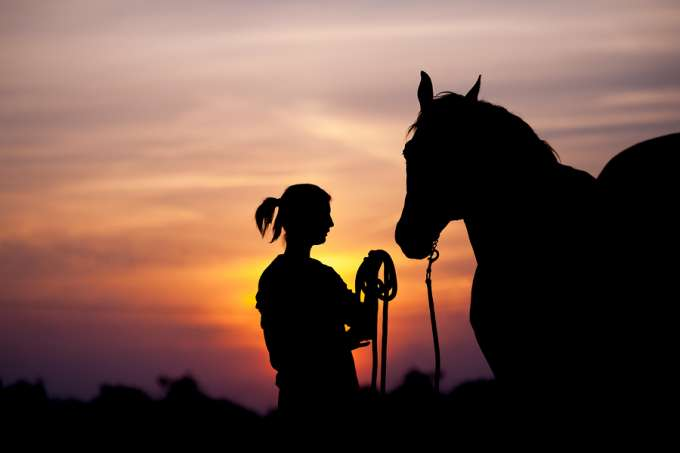 Silhouette of a woman and a horse.