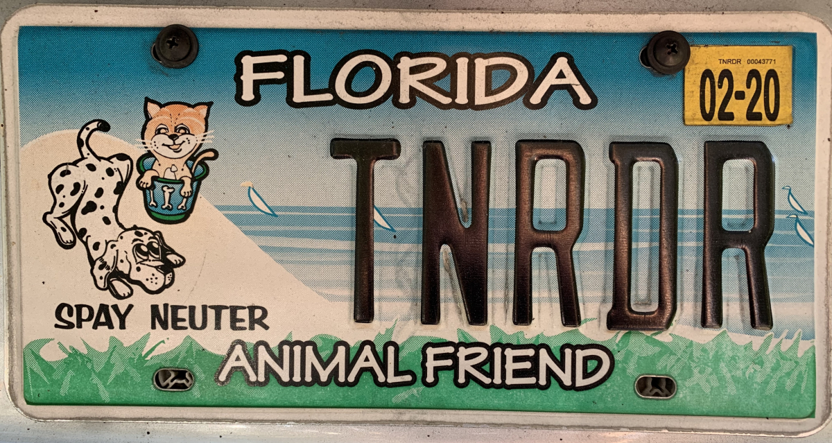 Florida Friend of the Animals licsense plate that says TNRDR