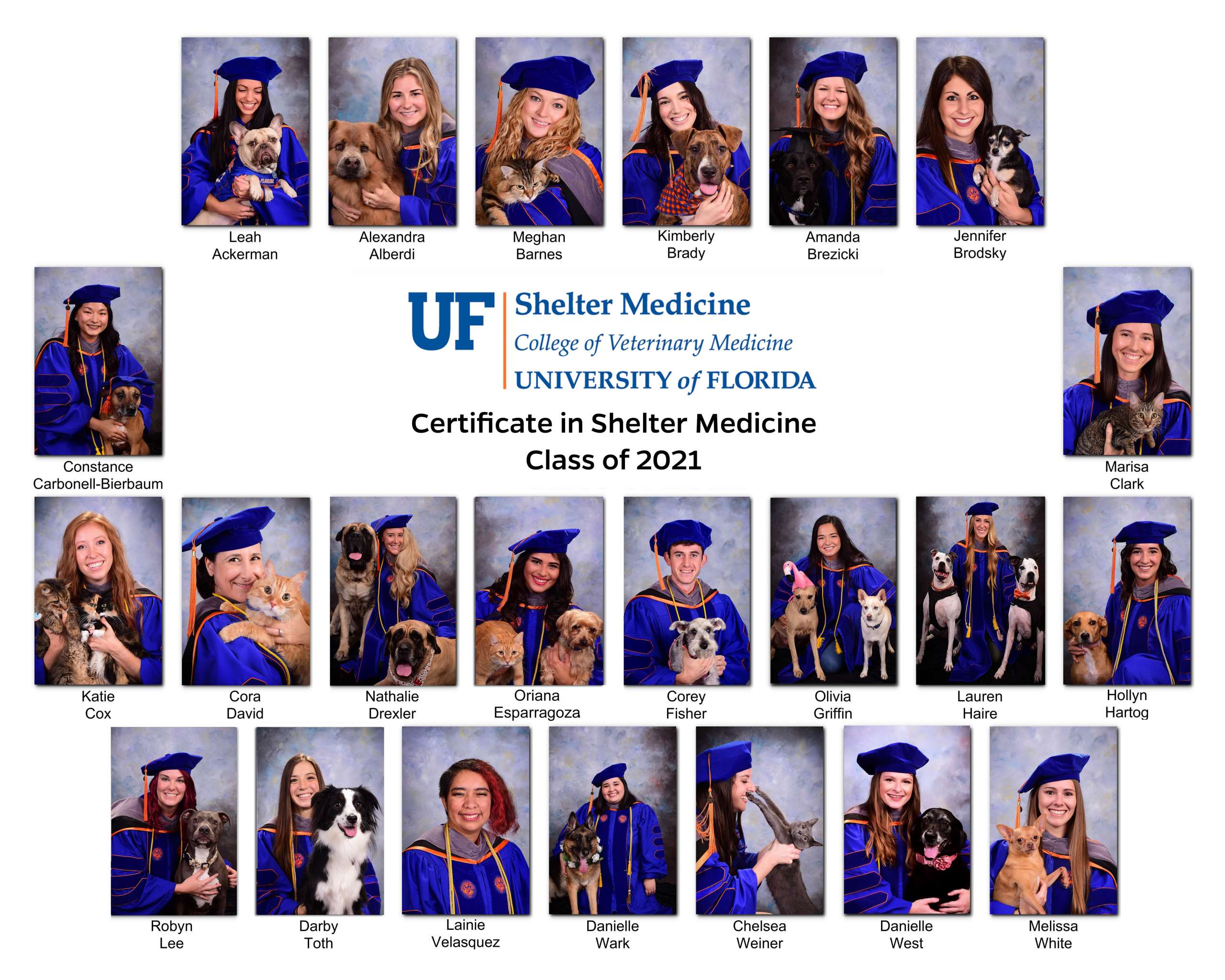 Certificate in Shelter Medicine Class of 2021 at the University of Florida College of Veterinary Medicine